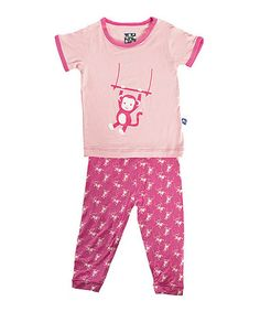 Take a look at this Candy Monkey Short-Sleeve Pajama Top & Pants - Infant & Toddler by KicKee Pants on #zulily today! $20 !!