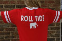 Team Color Retro Sleeve Stripe Jersey Alabama Roll Tide by theflowerfairyshop. Explore more products on http://theflowerfairyshop.etsy.com