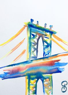 Dumbo Brooklyn 31x23 cm - Série New York - 2017- new york city, aquarelle, watercolor