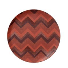 Cute brown orang abstract zig zag design dinner plate $24.95