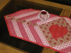 Quilted Heart Valentine Table Runner Reversible Pink Red. -