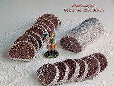 Gesztenyés Keksz Szalámi Hungarian Desserts, Hungarian Recipes, Sweet Desserts, No Bake Desserts, Dessert Recipes, Cream Cheese Flan, Condensed Milk Cake, Healthy Cake, Polish Recipes