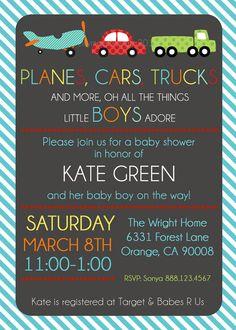 Baby Boy Shower Invitation - Transportation Invitation - Plane, Car, Truck - Digital File on Etsy, US$14,00