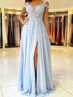 Cheap Light Blue Chiffon Split Long Prom Dresses With Lace Appliques Appliques Prom Dresses Prom Dresses Long Prom Dress Cheap Prom Dresses Blue Prom Dresses Prom Dresses Long Cheap Bridesmaid Dresses Online, A Line Prom Dresses, Dresses For Teens, Dance Dresses, Sexy Dresses, Pretty Dresses, Dress Prom, Party Dress, Elegant Dresses