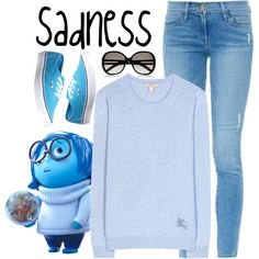 Sadness by violetvd on Polyvore featuring Burberry, Frame Denim, Vans, Chloé and Disney