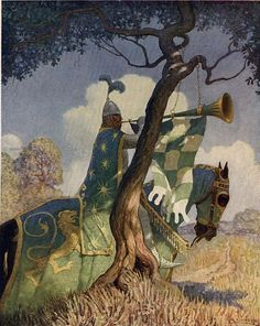 "Newell Convers Wyeth (October 1882 – October - Illustration from page 82 of The Boy's King Arthur: the green knight preparing to battle Sir Beaumains - ""It hung upon a thorn, and there he blew three deadly - Wikimedia Commons Jamie Wyeth, Andrew Wyeth, Roi Arthur, King Arthur, Alphonse Mucha, The Boy King, John Everett Millais, Nc Wyeth, Green Knight"