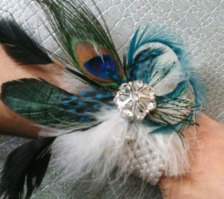 Peacock feather corsage