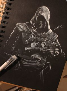Assassin's Creed by piratebutl23.deviantart.com on @deviantART Assassins Creed Black Flag, Assassin's Creed Black, Black Paper Drawing, Black And White Artwork, Edwards Kenway, Scratchboard Art, Inspirational Artwork, Game Art, Cool Artwork