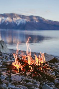 Beach campfire in winter.