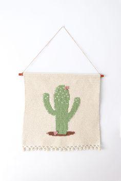 Crochet cactus wall hanging - Crochet Home decor by Thoresby Cottage Crochet Wall Art, Crochet Wall Hangings, Crochet Home Decor, Tapestry Crochet, Cactus Pattern, Crochet Cactus, Crochet Rabbit, Crochet Basics, Crochet Projects