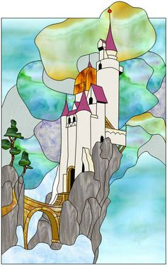 """Cloud Castle"" by Bill Blodgett Stained Glass Patterns Free, Stained Glass Designs, Stained Glass Projects, Stained Glass Art, Stained Glass Windows, Window Glass, Mosaic Art, Mosaic Glass, Glass Castle"