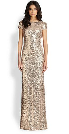 Badgley Mischka sequin cowl back gown