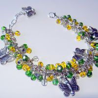 Green and Yellow Cluster Bracelet with Silver Butterfly Charms