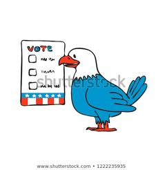 Drawing sketch style illustration of an American bald eagle about to vote beside election ballot paper on isolated white background. Election Ballot, Drawing Sketches, Drawings, Bald Eagle, Smurfs, Royalty Free Stock Photos, Editorial, Illustrations, American