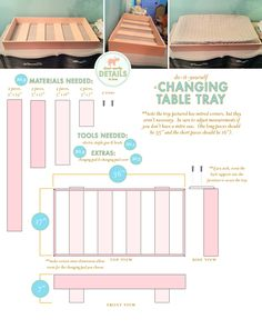 DIY changing table tray to hold a changing pad and set on top of a dresser.I want to make upscale an old dresser into a changing table as a baby shower gift :) Baby Nursery Diy, Newborn Nursery, Baby Room, Diy Baby, Nursery Ideas, Room Ideas, Girl Nursery, Baby Changing Tables, Baby Changing Pad
