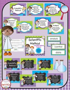 Great set in coordinating colors of lime, turquoise, and purple! Featuring the steps of the Scientific Method!