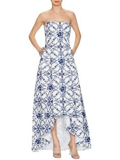 Cotton Print Pocket High Low Gown by Marchesa Notte at Gilt