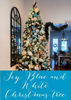 Icy Blue and White Christmas Tree - Celebrate & Decorate % Blue Christmas Decor, Christmas Trees For Kids, Gold Christmas Decorations, Beautiful Christmas Trees, White Christmas, Diy Christmas, Christmas Fireplace Mantels, Christmas Tree Inspiration, Holiday Decorating