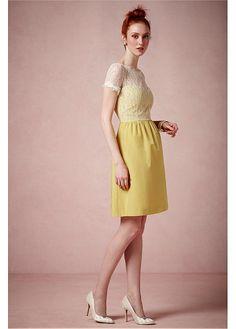 5942f46a1da3c  97.99  Charming Lace   Satin A-line Illusion Bateau Neck Natural Waistline  Knee-length Bridesmaid Dress. 黄色のドレス ...