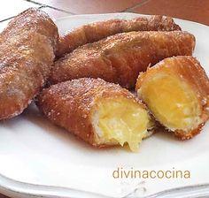 Estos xuxos de crema fáciles y rápidos se preparan con pan de leche envasado y se rellenan con flan de sobre.