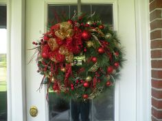 Christmas Wreath Holiday Wreath Front Door by KathysWreathShop