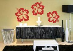 Sticker mural -Fleurs d'Hibiscus  www.wall-art.fr