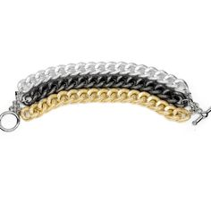 I love the Kenneth Jay Lane Three Row Tri-Tone Bracelet from LittleBlackBag