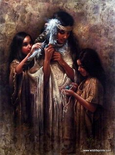 """The little girls take in all that is of this beautiful Native American Bride in Lee Bogle's The Bridal Party. This print is signed and numbered and is available unframed in size of 15.75""""x25"""""""