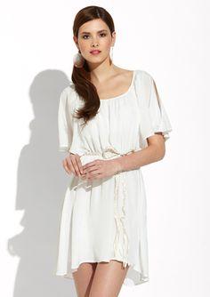 VELVET HEART Cold-Shoulder Braided Belt Dress