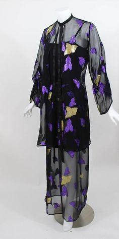 1978 Yves Saint Laurent Stunning Silk Metallic Leaf Dress Set Documented YSL 4