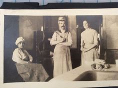 Vintage Photograph Butcher Chef Kitchen Staff Moustache Old Weird America