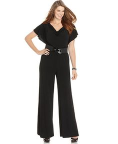 266a289c099fe AGB Plus Size Flutter-Sleeve Wide-Leg Belted Jumpsuit Plus Sizes - Pants -  Macy s