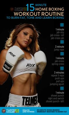 This 15 minute Home boxing workout routine is a great way to burn fat lose weight and relieve stress- right at home. Youll just need a stand-up a punching bag or hanging heavy bag boxing gloves and boxing wraps. Boxing Workout With Bag, Boxing Workout Routine, Punching Bag Workout, Heavy Bag Workout, Kickboxing Workout, Six Pack Abs Workout, Boxing Training Workout, Boxer Workout, Workout Challange