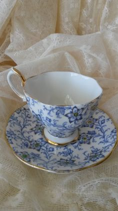 Royal Albert Teacup And Saucer Blue And by Roseantiqueboutique