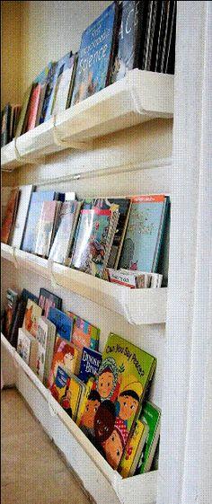 Raingutter bookshelves great on a wall
