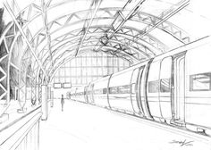 , One point perspective. by JessicaSlay on DeviantArt , Perspective by thiagospyked. 1 Point Perspective Drawing, Perspective Art, Perspective Architecture, Train Drawing, Urban Sketching, Birds Eye View, Deviantart, Art Plastique, Landscape