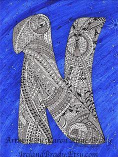 ACEO+Alphabet+N+letter+a+zentangle+inspired+by+IrelandBrady,+$1.00