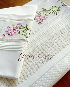 Discover thousands of images about Pike örneği Basic Embroidery Stitches, Felt Embroidery, Embroidery Designs, Linen Towels, Home Textile, Linen Bedding, Fabric Flowers, Duvet Covers, Diy And Crafts