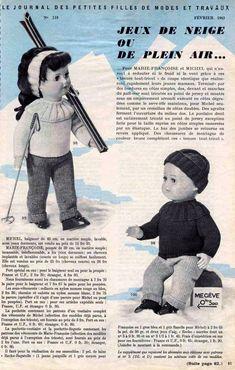PAR AMOUR DES POUPEES :: M&T 1963-02 Jeux de neige ou de plein air pour Marie-Françoise et Michel (tricot)