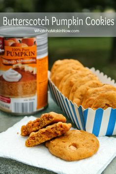 (these sound so good! might try making them even if Brian won't eat butterscotch, lol.) Butterscotch Pumpkin Cookies - soft, chewy, and perfect flavor combo! You must make these this fall! Yummy Treats, Delicious Desserts, Sweet Treats, Yummy Food, Cookie Desserts, Cookie Recipes, Dessert Recipes, Pumpkin Recipes, Fall Recipes