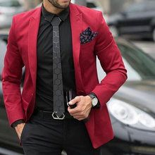 Online Shop Champage Business Man Blazers Groom Tuxedos Men Suits for Wedding Slim Fit Bridegroom Wear Coat Pants Blue Costume Homme Red Blazer Outfit, Blazer Outfits Men, Mens Fashion Blazer, Stylish Mens Outfits, Suit Fashion, Red Blazer Mens, Casual Outfits, Mens Red Dress Shirt, Gingham Shirt
