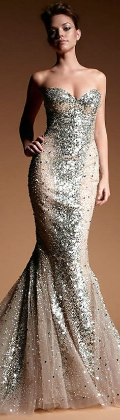 Zuhair Murad cream sequin long dress
