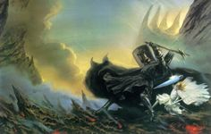 fingolfin's challenge to morgoth (by john howe)