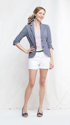 Seersucker Jacket from Lands' End Womens Preppy Outfits, Seersucker Jacket, Lands End, Summer Looks, Warm Weather, J Crew, Spring Summer, Style Inspiration, Blazer
