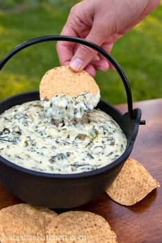 Spinach and Artichoke Dip; Pinned over 700,000+ times  :-O (p.s. thanks for all the pins; you all are awesome!) @NatashasKitchen