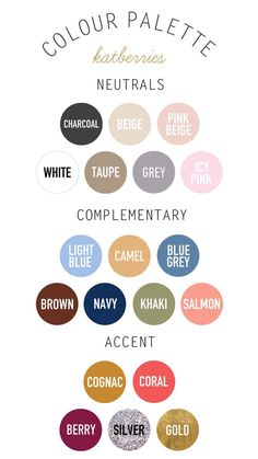 Perfect fashion color palette for moodboards, and for all your 2019 outfit inspiration! Choosing clothes has never been easier!Capsule wardrobe colour palette - must think about new combinations!Katberries - neutral, complementary and accent coloursP