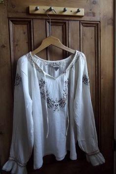 Bohemian blouse Uk 16 US 14 / embroidered by DollyTopsyVintage, £18.00