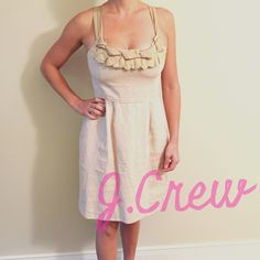J.Crew Oatmeal Linen Cocktail/Evening Dress Unique J.Crew Collection silk ribbon & linen dress. Like new, warn a handful of times but each time received numerous compliments! True to size and extremely comfortable. J. Crew Dresses