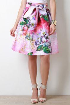 Floral Taffeta Bow Pleated Midi Skirt