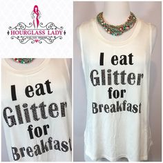 """""""GLITTER"""" rhinestone muscle tank """"I eat glitter for breakfast"""" rhinestone muscle tank Look crazy amazing at the gym, for a run or just in general (because you're good like that😉) Off white deep arm hi low tank, black lettering with silver rhinestone detail Great layering piece💕 Size S, Bust 22"""" across (measured at top of underarm seam) 26-28"""" long Size L, new, no tags Bust 24"""" across, 27-29"""" long 95% rayon, 5% spandex ‼️PRICE FIRM UNLESS BUNDLED‼️ Create a bundle for 15% off! Thanks for…"""